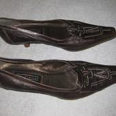 туфли коричневые, натуральная кожа! 37,5-38р-р