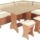 КУХОННЫЙ УГОЛОК : стол раскладывающийся + мягкий уголок с 2-мя ящиками под сиденьями + 2 табурета