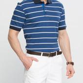 в наличии Мужское поло LC Waikiki синего цвета в белые полоски и синей окантовкой