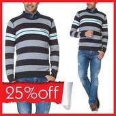 в серо-бело-темно-серыми полосы мужской свитер LC Waikiki