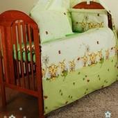Комплект постельного белья. Бампер и набор постели из 3-х ед. в кроватку новорожденного-Пчелы