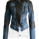 Куртка-косуха джинсовая с кожаными вставками  Zara