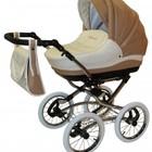 NEW! Классическая коляска Aneco Venezia classic кожа цвет 5-SK (бежевый с молочным)