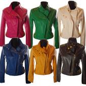 Женская   яркая куртка из экокожи