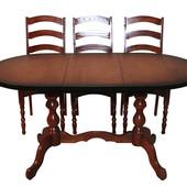 Стол овальный раздвижной на двух ногах, из дерева для зала и столовой.