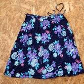 длинная юбка, размер M L, юбочка легкая с цветами