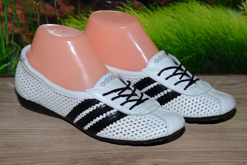 Балетки кроссовки кожа белая м20б летние adidas 36 размер фото №1