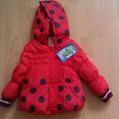 Демисезонная куртка детская (божья коровка) 12-18 мес.