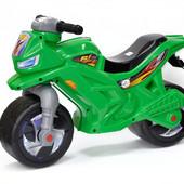 Мотоцикл беговел пластиковый велобег толкатель зеленый Орион 501