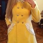 Пальто кашемировое с кружевом