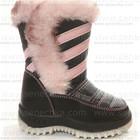 Дутики. Сноубутсы черные с розовым. Обувь детская зимняя. Дешево.