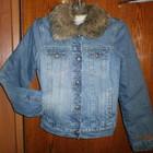 Теплая джинсовая куртка на синтепоне 42-44р
