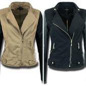 Женская куртка косуха с кожаными рукавами