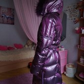 Зимнее пуховое пальто, пуховик, для девочки, новое, опушка-песец, р. 40-42