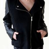 Женская весенняя куртка косуха с кожаними рукавами