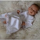 Эксклюзивный крестильный набор Серебро. Рубашка для крещения и крыжма
