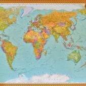 Настенная  большая Политическая карта мира Новая