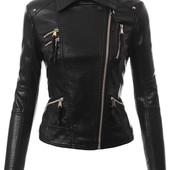 Женская куртка косуха из эко-кожи,демисезонная куртка на косой замок