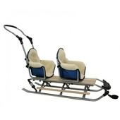 Санки на амортизаторах двухместные + мягкие сидения  mikrus duo sport