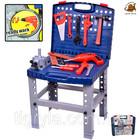 Детский набор инструментов в чемодане, инструменты для мальчика с шуруповертом, столик, верстак, чем