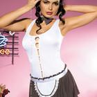 Cookie Эротический ролевой костюм кондитера шоколадно-белого цвета передник топ