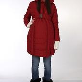 Теплое зимнее пальто из плотной для беременных