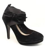 Модельные чёрные туфли с бантом 692 black