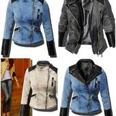 Женская демисезонная джинсовая куртка с эко-кожей на косой замок,косуха джинсовая