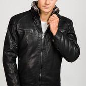 Модная мужская зимняя куртка из эко-кожи на меховой подкладке