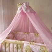 Детское постельное белье, комплект для девочек розовый, 9 предметов