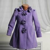 Детское демисезонное,весенне-осеннее кашемировое пальто сиреневое,фиолетовое,бордо 26,28,30,32размер