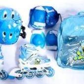 Детские раздвижные ролики с защитой Jinxin, светящиеся колеса