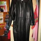 Пальто кожаное,длинное,р.52-54,чёрное,Италия.