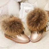 УГГИ женские кожаные мех лисица! зимние сапоги ботинки сникерсы дутики