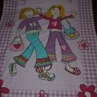 Фирменное Постель постельное белье полуторная для девочки с модными девчонками и надписями