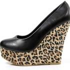 Туфли женские черные леопард Т379