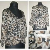 Zara-шикарная блуза с баской натуральный шелк (м-ка)