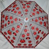 Зонтик зонт с яркими Божьими коровками матовый полу прозрачный грибком
