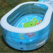 Прозрачный бассейн надувной Intex 57482 Овальный, с рисунком на дне, 238 л