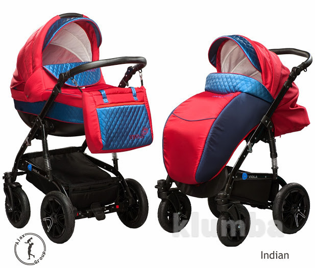 New! Универсальная коляска 2 в 1 Ajax Group Viola Indian, синий с красным фото №1