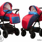 New! Универсальная коляска 2 в 1 Ajax Group Viola Indian, синий с красным