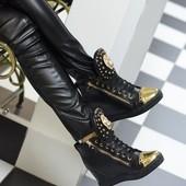 Ботиночки сникерсы черные Лев Д391