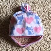 флисовая двойная шапочка с котами Mothercare на  1-2 года
