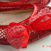 Балетки сетка красные, 24,5 см