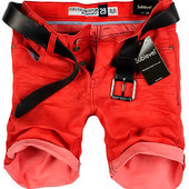 красные мужские джинсовые шорты