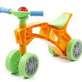 Роллоцикл 4 колеса оранжево-салатовый Технок 3824 беговел пластиковый