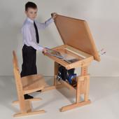 Парта растишка и стул регулируемый буковый