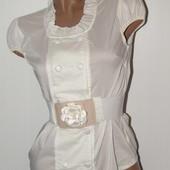 Блуза с коротким рукавом+пояс, размеры 44,46,48,50