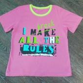Яркая футболка на девочку 11-12лет,р.146-152см.