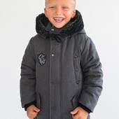 Утепленная зимняя куртка-пальто парка для мальчика 5 - 9 лет.